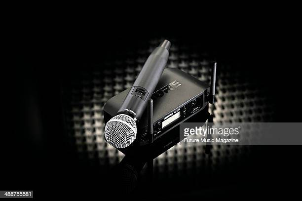 A Shure SM58 microphone and GLXD24 transmitter wireless radio mic system taken on August 29 2013