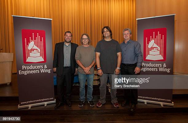 Shures Cory Lorentz record producers Terry Date Nick Raskulinecz and Shures Mark Brunner during the GRAMMY Behind the Glass with Terry Date and Nick...