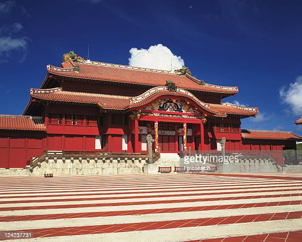 shuri castle, okinawa prefecture, japan, asia, low angle view, pan focus - burg shuri stock-fotos und bilder