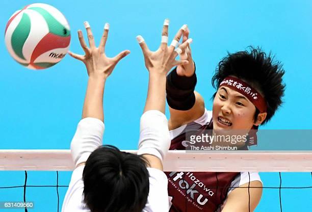 Shuri Yamaguchi of Shimokitazawa Seitoku spikes the ball during the 69th All Japan Volleyball High School Championships Women's final match between...