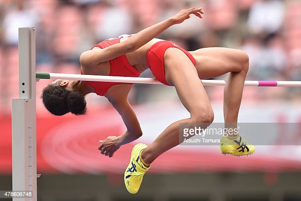 Shuriai Tsuda of Japan competes in the Womens High Jump final during the 99th Japan Athletics National Championships at Denka Big Swan Stadium on...