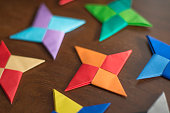 throwing stars made from origami paper