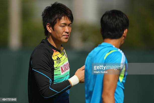Shusaku Nishikawa looks on during a Japan training session at North Greenwood Recreation Aquatic Complex on May 30 2014 in Clearwater Florida