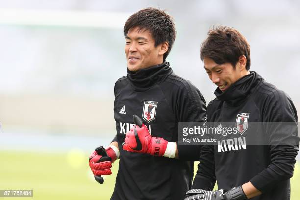 Shusaku Nishikawa of Japan in action during a Japan training session ahead of the international friendly against Brazil on November 8 2017 in Lille...