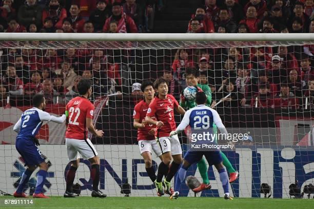 Shusaku Nishikawa of Urawa Red Diamonds catches during the AFC Champions League Final second leg match between Urawa Red Diamonds and AlHilal at...