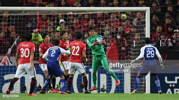 Shusaku Nishikawa of Urawa Red Diamonds catches the ball during the AFC Champions League Final second leg match between Urawa Red Diamonds and...