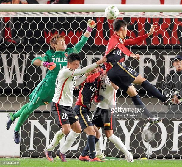Shusaku Nishikawa of Urawa Red Diamonds clears the ball during the J.League Championship Final first leg match between Kashima Antlers and Urawa Red...