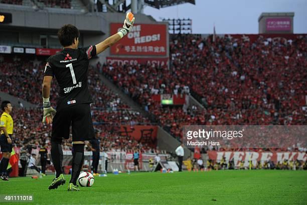 Shusaku Nishikawa of Urawa Red Diamonds gestures during the JLeague match between Urawa Red Diamonds and Sagan Tosu at Saitama Stadium 2002 on...