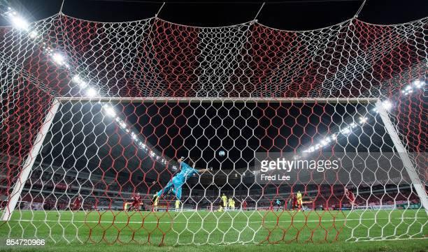 Shusaku Nishikawa of Urawa Red Diamonds saves during the AFC Champions League 2017 Semifinals 1st leg between Shanghai SIPG and Urawa Red Diamonds at...