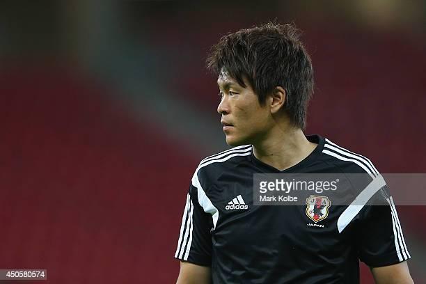 Shusaku Nishikawa watches on during a Japan training session at Arena Pernambuco on June 13, 2014 in Recife, Pernambuco.