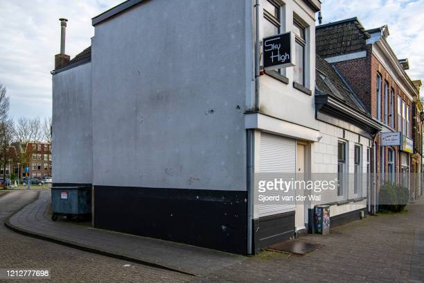 A shut coffeeshop after the Dutch government announced new measures for prevention of spreading of the Corona Covid19 virus on March 16 2020 in...