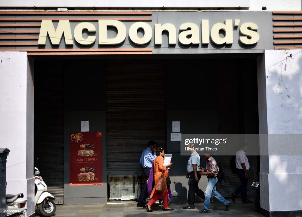 A shut McDonald's outlet at Janpath on August 21, 2017 in New Delhi, India. McDonald's snapped its franchise agreement with Connaught Plaza Restaurants Ltd. (CPRL), its equally owned joint venture with Vikram Bakshi that operated the US chains restaurants in northern and eastern India. McDonald's has taken away all branding, trademark, design and marketing policy rights from CPRL while culminating a 22-year relationship with Bakshi. The decision could impact about 6,500 direct jobs in India, and lead to the possible closure of McDonald's restaurants in the northern and eastern regions, at least temporarily.