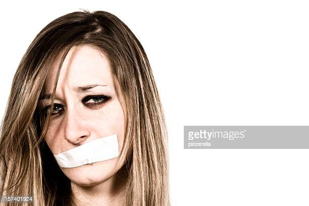 shut up - victim stock pictures, royalty-free photos & images