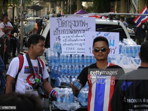 Shutdown Bangkok 13 January 2014 - Anti-government protests in central Bangkok Free food and water being provided to the protestors