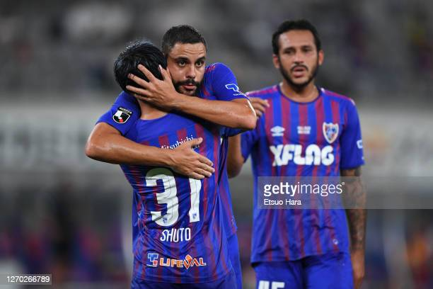 Shuto Abe of FC Tokyo celebrates scoring his side's first goal during the J.League YBC Levain Cup match between FC Tokyo and Nagoya Grampus at the...