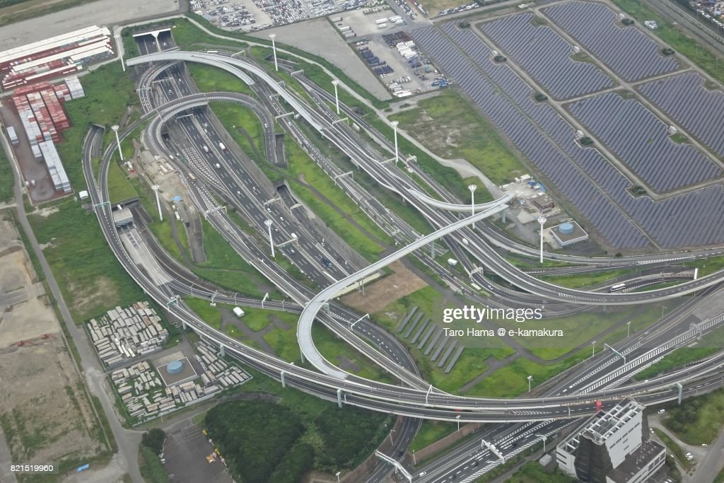 Shuto Expressway in Kawasaki city in Kanagawa prefecture daytime aerial view from airplane : ストックフォト
