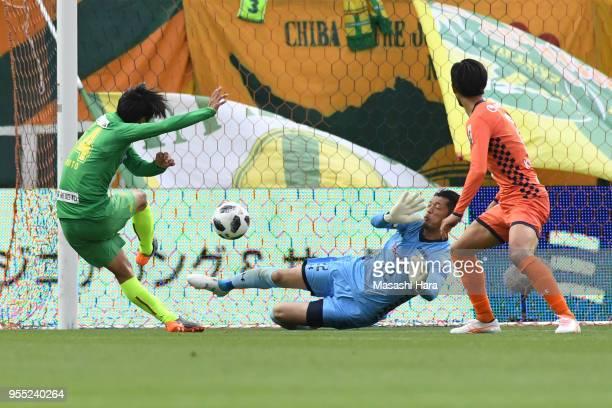 Shuto Kojima of JEF Unite Chiba scores the first goal during the J.League J2 match between Omiya Ardija and JEF United Chiba at Nack 5 Stadium Omiya...