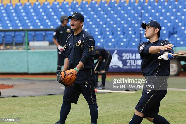 Shuto Takajo and Kensuke Kondo of Japan warms up prior to the game of the IBAF 21U Baseball World Cup Group B game between Japan and the Netherlands...