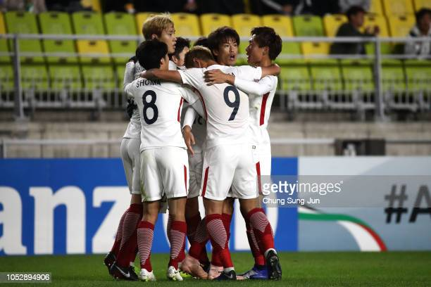Shuto Yamamoto of Kashima Antlers celebrates with his team mates after scoring a first goal during the AFC Champions League semi final second leg...