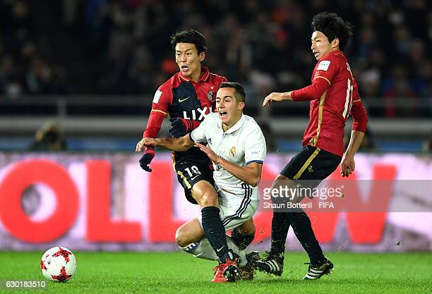 Shuto Yamamoto of Kashima Antlers fouls Lucas Vazquez of Real Madrid which to lead to a Real Madrid penalty during the FIFA Club World Cup Final...