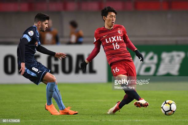 Shuto Yamamoto of Kashima Antlers in action during the AFC Champions League Group H match between Kashima Antlers and Sydney FC at Kashima Soccer...