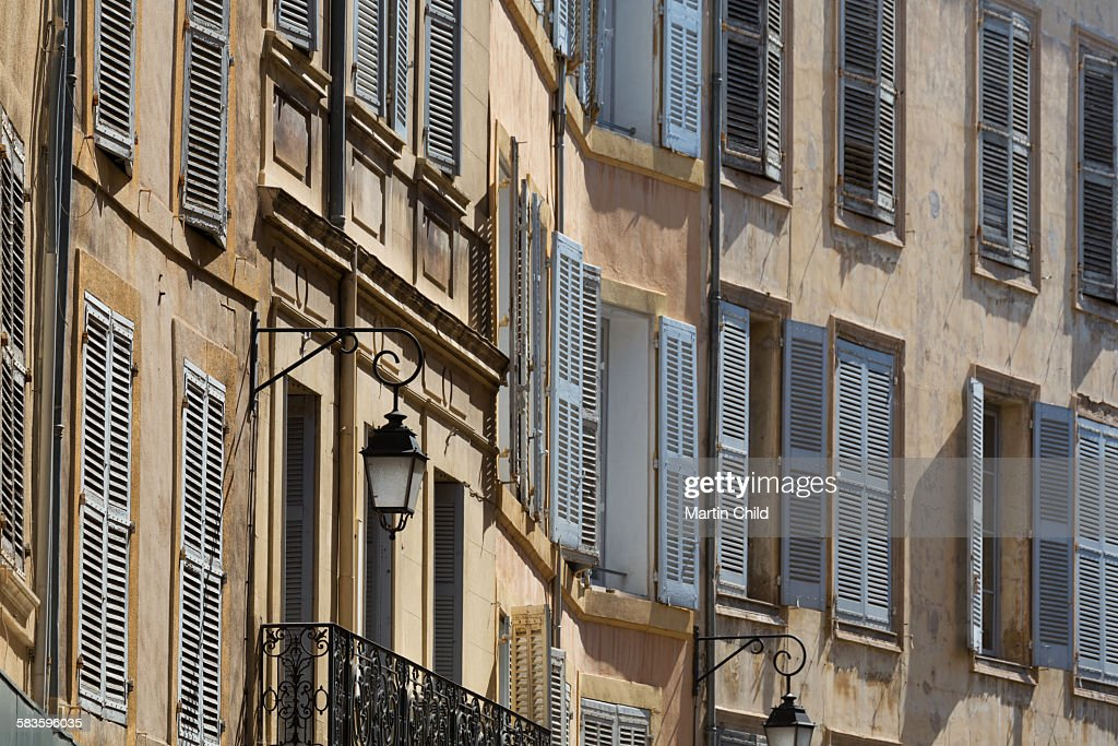 Shuttered buildings in Aix en Provence : Stock Photo