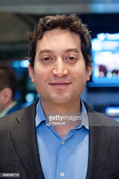 Shutterstock chief executive officer Jon Oringer rings the opening bell at the New York Stock Exchange on February 14 2014 in New York City