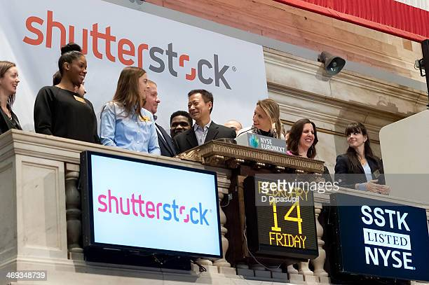 Shutterstock chief technology officer James Chou rings the opening bell at the New York Stock Exchange on February 14 2014 in New York City
