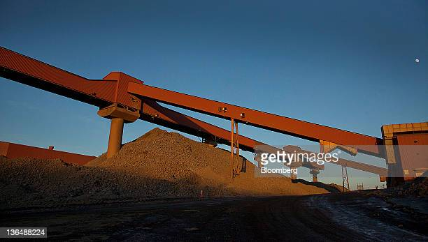 A shuttle conveyor transports taconite rock from the crusher to the Hibbing Taconite Co pellet manufacturing plant operated by Cliff's Natural...