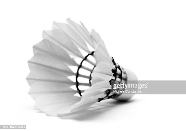 shuttlecock, b&w. - shuttlecock stock pictures, royalty-free photos & images