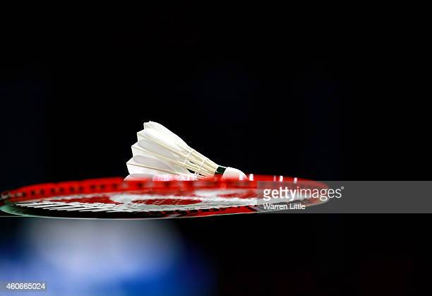 A shuttlecock is pictured during day three of the BWF Destination Dubai World Superseries Finals at the Hamdan Sports Complex on December 19 2014 in...