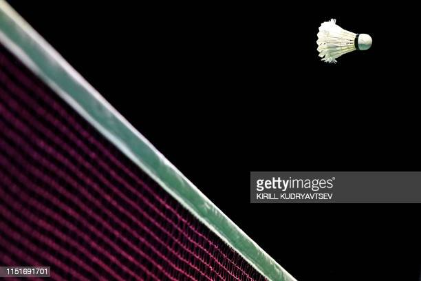 Shuttlecock is pictured during the badminton tournament at the 2019 European Games in Minsk on June 24, 2019.