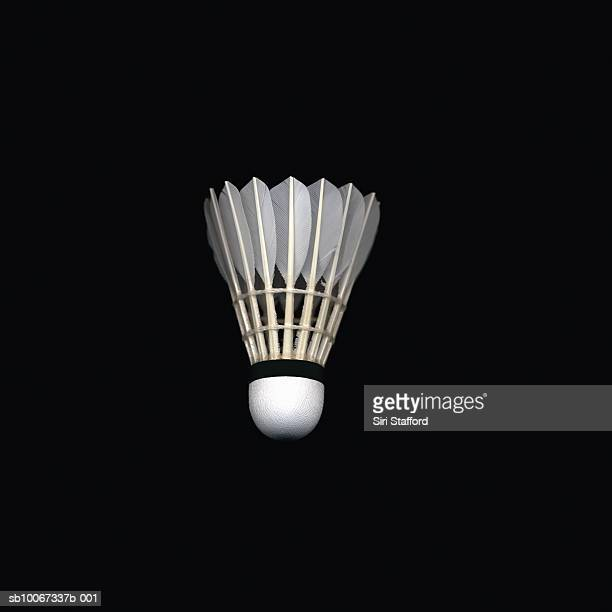 shuttlecock on black background - shuttlecock stock pictures, royalty-free photos & images