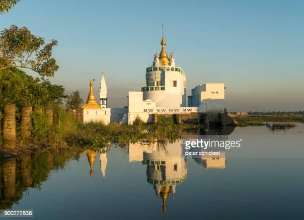 Shwe Modeptaw pagoda at Taungthaman Lake at U Bein Bridge, Amarapura, Mandalay, Myanmar