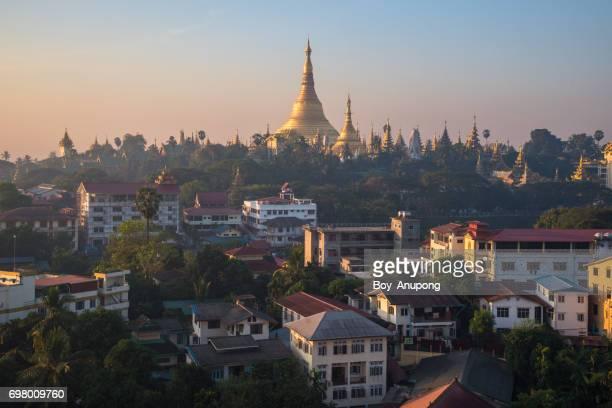 Shwedagon pagoda at dawn, Yangon township of Myanmar.