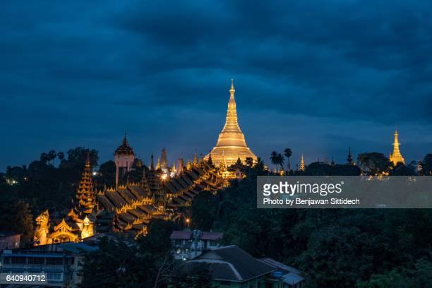 Shwedagon Pagoda at twilight, Yangon, Myanmar