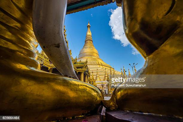 shwedagon pagoda landmark of yangon city, yangon city, myanmar - yangon stock pictures, royalty-free photos & images