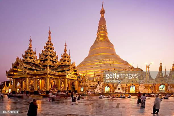 shwedagon pagoda - yangon stock pictures, royalty-free photos & images