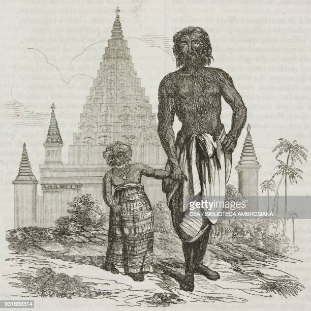 ShweMaong and his daughter with their bodies covered with hair Laos engraving from L'album giornale letterario e di belle arti November 5 Year 9