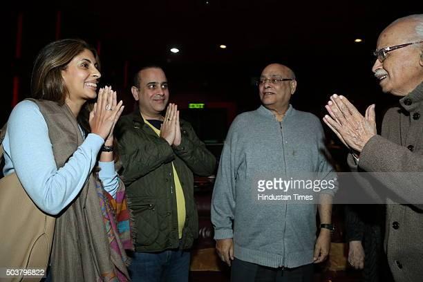 Shweta Bachchan Nanda daughter of Bollywood actor Amitabh Bachchan with her husband Nikhil Nanda Rajan Nanda and BJP senior leader LK Advani during...