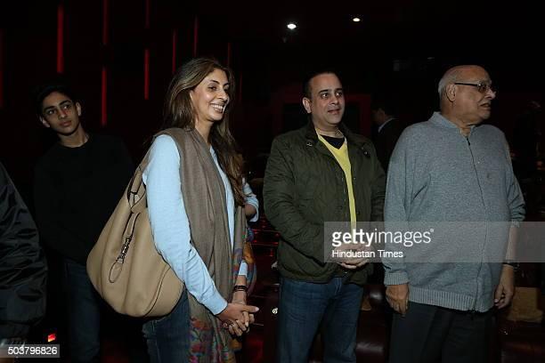 Shweta Bachchan Nanda daughter of Bollywood actor Amitabh Bachchan with her husband Nikhil Nanda and Rajan Nanda during the special screening of...