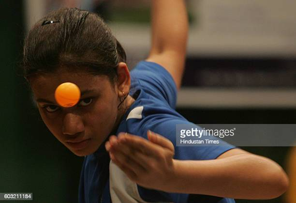 Shweta Parte winner of Junior and Youth serves at Mumbai City District Ranking Table Tennis Tournament organised by Matunga Gymkhana on Tuesday