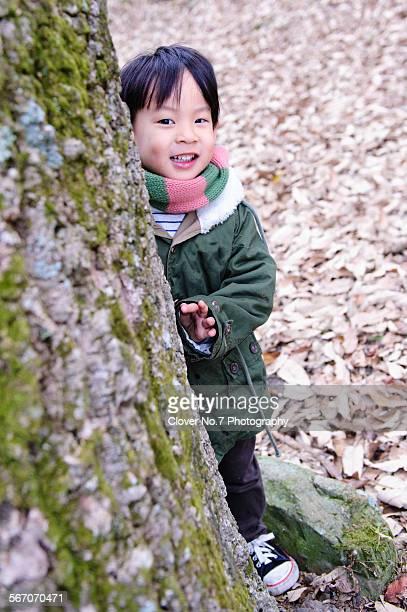 shy little boy - 4 leaf clover stock-fotos und bilder