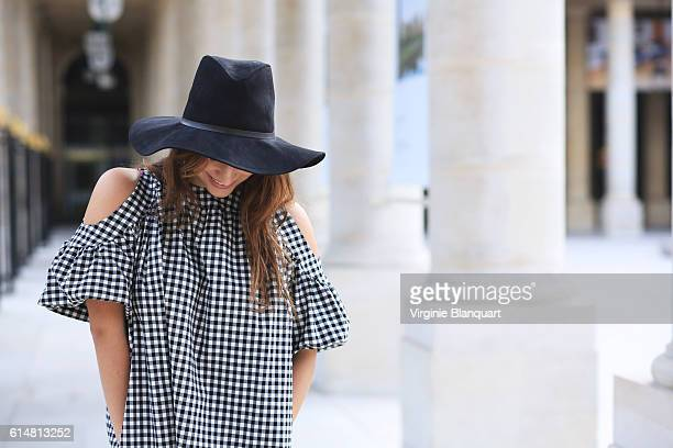Shy young and gorgeous stylish parisian woman