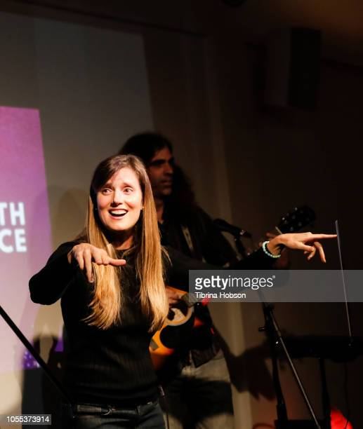 Shyla Nelson Stewart speaks ath the 'Find Your Voice LA One Earth One Voice' a night of art and activism benefit for YES on B on October 29 2018 in...