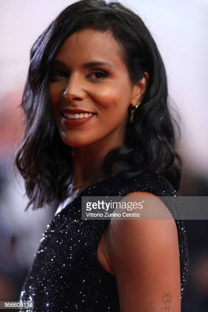Shy'm attends the screening of Leto during the 71st annual Cannes Film Festival at Palais des Festivals on May 9 2018 in Cannes France