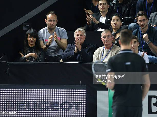 Shy'm, girlfriend of Benoit Paire of France and his parents Eliane Paire and Philippe Paire attend his quarter-final victory at the Open 13, an ATP...