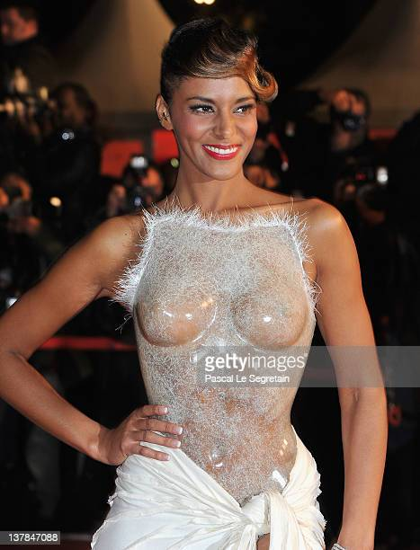 Shy'm poses as she arrives at NRJ Music Awards 2012 at Palais des Festivals on January 28 2012 in Cannes France