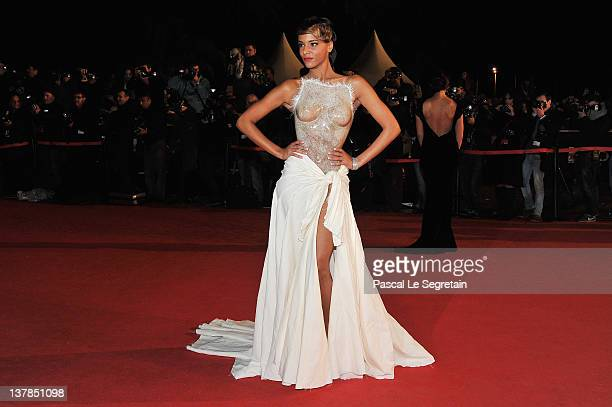 Shy'm poses as she arrives at NRJ Music Awards 2012 at Palais des Festivals on January 28, 2012 in Cannes, France.