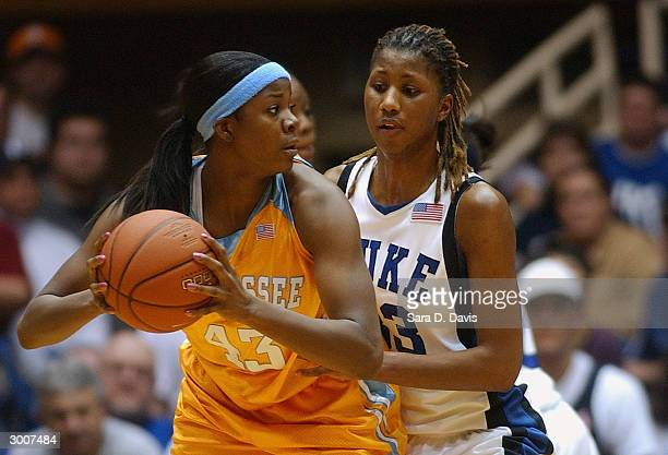 Shyra Ely of the Tennessee Lady Vols looks to play the ball against Iciss Tillis of the Duke Blue Devils during the game on January 24 2004 at...
